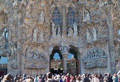 Spain (Barcelona-Sagrada Familia) Extra ordinary beauty of main facade (ustung) Tags: barcelona church architecture facade spain gate kodak gaudi sagradafamilia