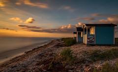 Cabanas just before sunset (Olof Virdhall) Tags: cabanas skanr resund resundsbron sea blue water sunset longexposure