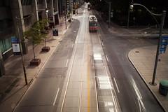 Queen Street in Motion (Jack Landau) Tags: street city urban toronto ontario canada long exposure downtown ttc queen transportation transit streetcar