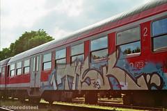imm004_5A (coloredsteel) Tags: rossmann 400 fuji graffiti ulm train writing bombing trainspotting coloredsteel streetart analog street photography minolta 7000 af