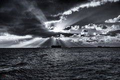 Into the West. Variations. (Bill Thoo) Tags: ocean travel sunset sea blackandwhite seascape monochrome 35mm landscape ship sony indianocean australia sunrays westernaustralia freemantle intothewest a7r