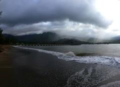 Hanalei Pier (jenesizzle) Tags: kauai hawaii paradise island outdoors landscape ocean beach hanalei hanaleipier hanaleibay storm stormy rain