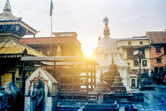 Sunset Swayambhunath (hiphopmilk) Tags: film analog analogue 135film 35mm kodak jaredyeh hiphopmilk nepal kathmandu swayambhunath temple swayambhu ghumpa karma raja maha vihar anantapura shikhara dongak chhyoling old monastry gompa prayer wheel dipanker buddha bhagawan paau monument stupa pagoda statue chaitya sunset