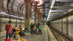 Los Angeles, CA: Red Line Hollywood-Highland Station platform level with the curved metal sculpture visible (nabobswims) Tags: losangeles california unitedstates us highdynamicrange hdr photomatix subway metro ubahn lightroom station hollywoodhighland nabob nabobswims metrorail