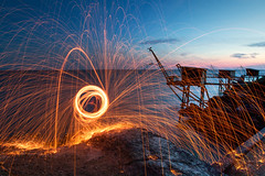 Fire ball - Light Painting - Pornic France ( Mathieu Pierre photography) Tags: canon eos 7d mark grip bge16 remote rs60e3 1635 ii usm mm l is manfrotto 694cx monopode tripod tma28a benro head ball b0 vanguard bag skyborne 45 pornic nantes fire light painting