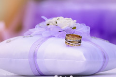 Promise ring.. cause every little thing she does is magic.. (renkata23) Tags: ring promise wedding weddingdecoration purple gold golden flowers details nikon nikonbulgaria little things pillow pastel