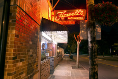 Howell's Sandwiches (Curtis Gregory Perry) Tags: oregoncity oregon howells sandwiches neon sign night longexposure sidewalk red cocktails bar pub restaurant nikon d800e
