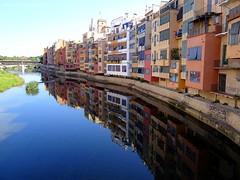 Girona, the city of the Four Rivers, Catalunya, Spain (jackfre 2) Tags: spain catalunya city river reflections houses coloured bridges riuonyar onyar