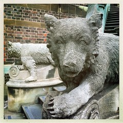 Clipsham Stone Bears (firstnameunknown) Tags: iphoneography hipstamatic cambridge art publicart bear sculpture statue stairs clipshamstone