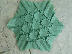 Parallelogram Wreath - Daniel Kwan (MihaelaEudaimonia) Tags: paper grid origami handmade daniel wreath tessellation mullberry kwan parallelogram