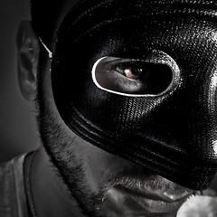Mask (Carlos D' Araya) Tags: white man black guy beard eyes mask selfie