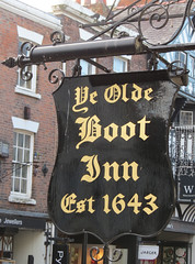 Pub sign The Old Boot Inn, Eastgate Street, Chester (rowchester) Tags: sign canon boot gold pub powershot chester bridgecamera sx40 sx40hs