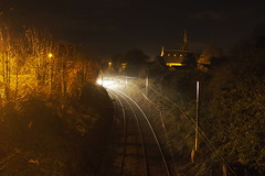 Train at St Paul's (Peter J McCarthy) Tags: ireland dublin church st by night j photo transport railway pauls trains peter area rapid dart mccarthy atmospheric metals dunlaoghaire glenageary