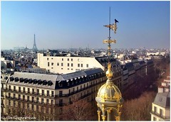 View from Printemps roof terrace (alcowp) Tags: paris france store magasin cityscape eiffeltower weathervane fra gilt ipad printempshaussmann