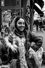 Peace! (damar47) Tags: street portrait people woman girl monochrome face look lady corner canon eos freedom blackwhite peace w joy citylife streetphotography hippy style happiness monochromatic bologna hood hippie pace oldtown ritratto citycentre flowerpower biancoenero braid younglady streetstyle fricchettona