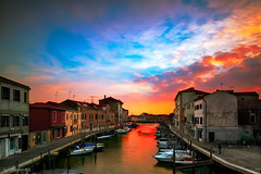 Murano (Tedz Duran) Tags: travel venice houses sunset urban italy color clouds rural canon reflections boats photography golden canal long exposure italia hour 24mm murano coloured venezia duran tse tedz 5d3