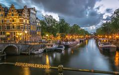 Papiermolensluis after sunset in Amsterdam (tommyferraz) Tags: holland netherlands amsterdam canals grachten korte prinsegracht papiermolensluis