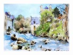 Pont Aven - France - version aquarelle (guymoll) Tags: aquarelle watercolour watercolor torrent alpes rivire croquis sketch pontaven