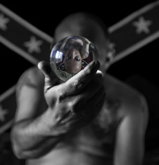 reflection ball (rockindave1) Tags: selfportrait portrait hand crystalball arms body head eyes face flag canoneos5dmark2 adobecs6 blackwhite toned