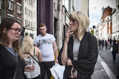 Awkward. (markfly1) Tags: street dog man london girl drunk 35mm nikon funny cigarette candid soho smoking attitude end d750 moment trans awkward loads