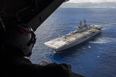 USS America conducts flight operations near the island of Hawaii.