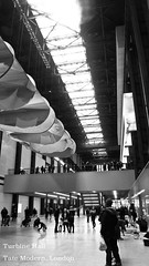 Tate Turbine Hall Black White(wL) (aaronwilde93) Tags: london uk barbican tate the city britain tourism black white bw braids skyline turbine hall modern brit art gallery modernist empty space power station hangar platforms light from above