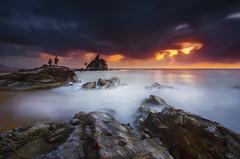 Twin Guardian [explored] (by nelzajamal) Tags: nelzajamal terengganu malaysia kemasik beach sunrise sunset leefilter singhray longexposure slowshutter silhouette ocean sea