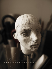 new head for threeA body (nora ver) Tags: threea 3a wip workinprogress oroshi ashleywood actionfigure onesixthscale onesixth 12inch sketchdoll airdryclay sculpture blackandwhite noraver