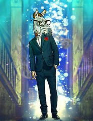 Zebra Gentleman (macross design) Tags: photoshop animal person style lights zebra wacom illustrator comic mix mixture gentleman