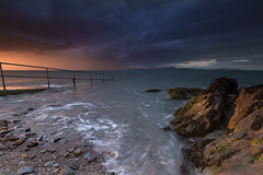 36/52 Rain clouds on the Cooley peninsula (artvaleri) Tags: sunset louth salterstown swimmingplace ireland explored