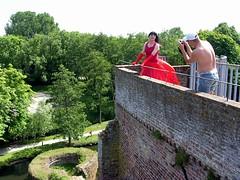Flickr photo shoot (Paula Satijn) Tags: red summer sun castle girl sunshine lady dress photoshoot ruin silk sunny skirt tgirl gloves transvestite gown satin gurl