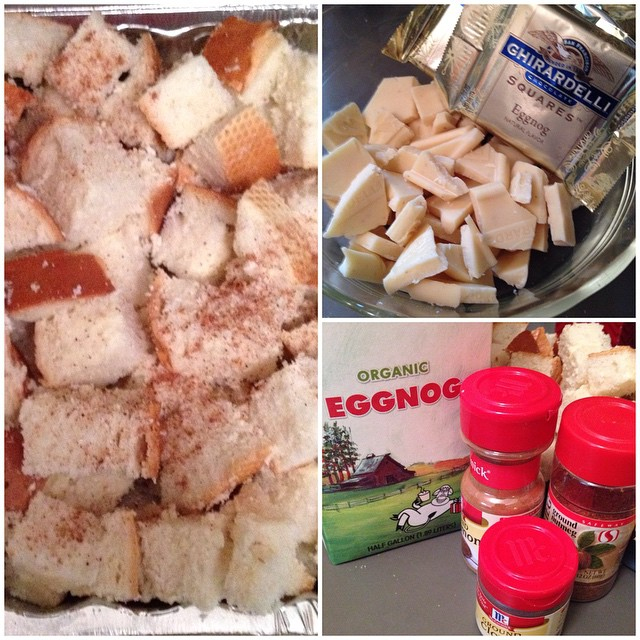 Baking. Eggnog bread pudding with Ghirardelli eggnog candy bits.   #christmas #baking #desserts #eggnog #nutmeg #chocolate #whitechocolate #ghirardelli #bread #pudding #butter #candy
