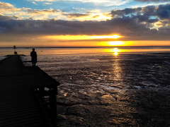 Watching the sunset (Andy Hay) Tags: sea england sun beach river mud unitedkingdom lancashire lytham estuary setting lightroom 2014 ribble lythamjetty fyldedistrict
