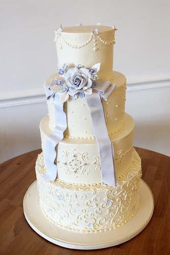 Buttercream Wedding Cake with Piping Texture and Lavender Sugar Flowers