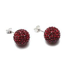 женской моде красные стразы шаровые стерлингового серебра серьги (1 пара)