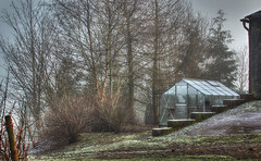 Frosted Glass (Neil A Kingsbury) Tags: trees winter building glass rural landscape frost farm greenhouse slope
