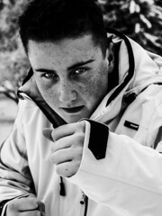 Fight the Cold (Alexander Babl) Tags: winter boy bw white snow man black cold guy face contrast fight eyes pretty close handsome boxer freckles boxing fighting stance welltaken