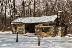 Miller-Kelso Residence (Larry Senalik) Tags: winter snow canon site illinois log cabin unitedstates petersburg abraham historic lincoln dslr t3i newsalem 2015 menardcounty