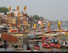 Varanasi, India (JH_1982) Tags: city urban india up religious boat cityscape flag religion culture buddhism flags holy exotic varanasi spiritual hindu hinduism indien cultural ganga crowded density inde ganges ghats buddhists benares ghat jains  gange uttarpradesh jainism urbanity   ndia   benars       waranasi   ganjnehri        vrnas  vrnaszi    snghng
