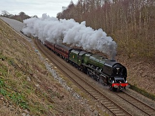 """LMS Coronation Class 4-6-2 No 46233 Duchess of Sutherland in charge of """"The Winter Cumbrian Mountain Express at Froddle Crook on the Settle Carlisle Line 28th Feb 2015"""