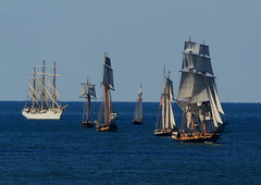 Parade of Sails (burlingamelarry) Tags: lakeerie ships sails erie tallships flagshipniagara paradeofsails mastships flagships