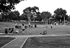 Picnic in the Park (Padmacara) Tags: park trees bw bicycle picnic australia sidewalk fremantle footpath d610 tokina1735