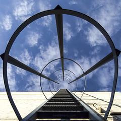 stairway to heaven (ewaldmario) Tags: vienna blue sky white composition fire escape dof pov himmel explore fireescape stairwaytoheaven fluchtweg viewup feuerleiter ewaldmariocom