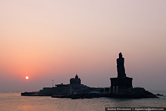 Vivekananda and Thiruvalluvar statues (digitalcrop) Tags: morning travel sunset sea sky cloud india building tourism beach monument water silhouette statue rock architecture sunrise landscape religious temple memorial scenery asia indian south religion landmarks landmark tourist teacher southern hero idol cape leader hindu hinduism tamil swami pilgrim guru philosopher kanyakumari nadu thiruvalluvar vivekananda kanniyakumari mandapam comorin