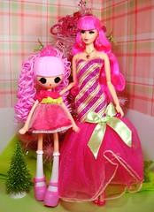 Rosalie & Jewel (Bridget_John316) Tags: christmas pink girls green hair princess barbie diorama jewel steffie tarina tarantino rebodied lalaloopsy