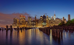 Downtown Manhattan at blue hour (marko.erman) Tags: city sea newyork architecture brooklyn skyscraper buildings reflections lights cityscape unitedstates manhattan sony bluehour downtownmanhattan
