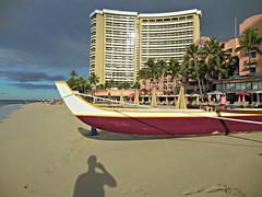 beach selfie shadow (kenjet) Tags: beach selfie shadow me ken kenjet waikiki waikikibeach oahu hawaii sand sandy canoe hotel sheraton sheratonwaikiki sky weather day morning am