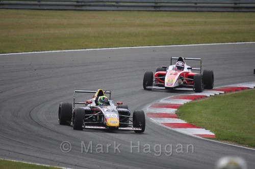 Luis Leeds and Nicolai Kjærgaard in British Formula 4 during the BTCC 2016 Weekend at Snetterton
