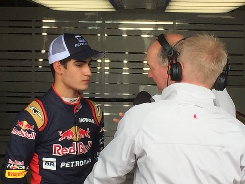 Sérgio Sette Camara interviewed whilst testing for Toro Rosso in Formula One In Season Testing at Silverstone, July 2016