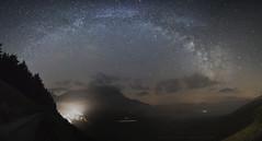 Castelluccio si veste di nebbia in una notte di luna di nuova (cucjanji) Tags: fog stars landscape nikon nightscape foggy panoramic panoramica photomerge nikkor milky paesaggio umbria d800 stelle milkyway castelluccio paina